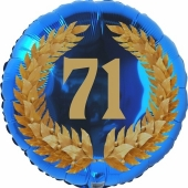 Lorbeerkranz 71, Luftballon aus Folie zum 71. Geburtstag, ohne Ballongas