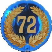 Lorbeerkranz 72, Luftballon aus Folie zum 72. Geburtstag, ohne Ballongas