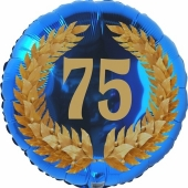 Lorbeerkranz 75, Luftballon aus Folie zum 75. Geburtstag, ohne Ballongas