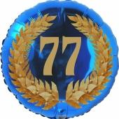 Lorbeerkranz 77, Luftballon aus Folie zum 77. Geburtstag, ohne Ballongas