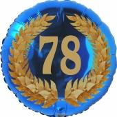 Lorbeerkranz 78, Luftballon aus Folie zum 78. Geburtstag, ohne Ballongas