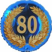 Lorbeerkranz 80, Luftballon aus Folie zum 80. Geburtstag, ohne Ballongas