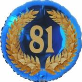 Lorbeerkranz 81, Luftballon aus Folie zum 81. Geburtstag, ohne Ballongas
