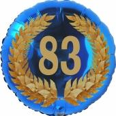 Lorbeerkranz 83, Luftballon aus Folie zum 83. Geburtstag, ohne Ballongas