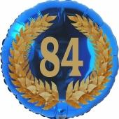 Lorbeerkranz 84, Luftballon aus Folie zum 84. Geburtstag, ohne Ballongas