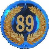 Lorbeerkranz 89, Luftballon aus Folie zum 89. Geburtstag, ohne Ballongas