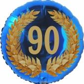 Lorbeerkranz 90, Luftballon aus Folie zum 90. Geburtstag, ohne Ballongas