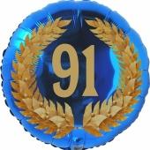 Lorbeerkranz 91, Luftballon aus Folie zum 91. Geburtstag, ohne Ballongas