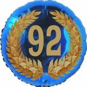 Lorbeerkranz 92, Luftballon aus Folie zum 92. Geburtstag, ohne Ballongas