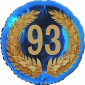 Lorbeerkranz 93, Luftballon aus Folie zum 93. Geburtstag, ohne Ballongas