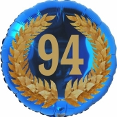 Lorbeerkranz 94, Luftballon aus Folie zum 94. Geburtstag, ohne Ballongas