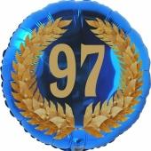 Lorbeerkranz 97, Luftballon aus Folie zum 97. Geburtstag, ohne Ballongas