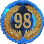 Lorbeerkranz 98, Luftballon aus Folie zum 98. Geburtstag, ohne Ballongas