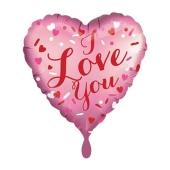I Love You Satin Rosa, Herzluftballon aus Folie inlusive Helium
