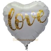Herzluftballon aus Folie, Love Gold Glimmer, ohne Helium