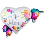 Love You Mom Watercolor, Luftballon aus Folie mit Helium zum Muttertag