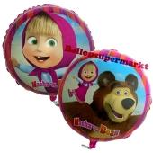 Mascha und der Bär Luftballon aus Folie in Rundform
