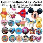 Folienballon-Maxi-Set-1, 50 Luftballons aus Folie mit der 10 Liter Ballongasflasche