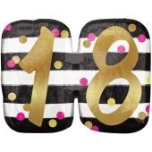 Luftballon Pink & Gold Milestone Birthday 18 zum 18. Geburtstag inklusive Helium
