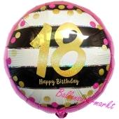 Luftballon zum 18. Geburtstag, Pink & Gold Milestone 18, ohne Helium-Ballongas
