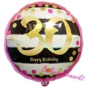 Luftballon zum 30. Geburtstag, Pink & Gold Milestone 30, ohne Helium-Ballongas