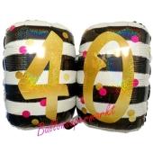 Folienballon Pink & Gold Milestone Birthday 40 ohne Helium