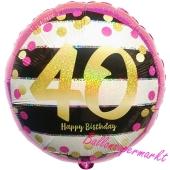Luftballon zum 40. Geburtstag, Pink and Gold Milestone, ohne Helium-Ballongas