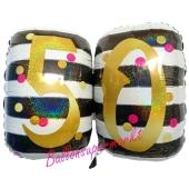Folienballon Pink & Gold Milestone Birthday 50 ohne Helium