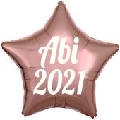 Luftballon Stern Abi 2021, rosegold-weiß, mit Helium Ballongas