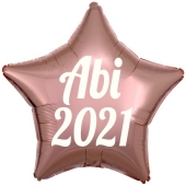 Luftballon Stern Abi 2021, roségold-weiß