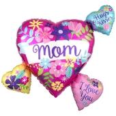 Mom Flowers Heart Cluster, Luftballon aus Folie mit Helium zum Muttertag