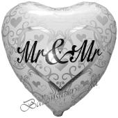 Mr and Mr in Love Herzballon mit Ornamenten, Luftballon aus Folie zur schwulen Hochzeit