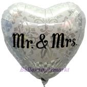 Mr and Mrs Herz mit Ornamenten, Luftballon aus Folie zur Hochzeit