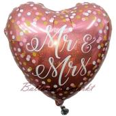 Holografischer Herzballon zur Hochzeit, Mr & Mrs Roségold, Folienballon inklusive Helium