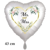 Herzluftballon Mr. & Mrs. Golden Heart and Flowers, inklusive Helium