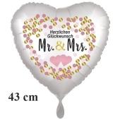 Herzluftballon Mr. & Mrs. Herzlichen Glückwunsch, inklusive Helium