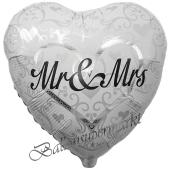 Mr and Mrs in Love Herzballon mit Ornamenten, Luftballon aus Folie zur Hochzeit