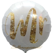 Luftballon aus Folie, Mr Gold Glimmer, ohne Helium
