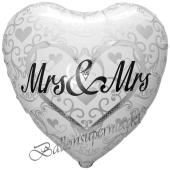 Mrs and Mrs in Love Herzballon mit Ornamenten, Luftballon aus Folie zur lesbischen Hochzeit