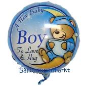 A New Baby Boy Bärchen Luftballon aus Folie ohne Helium