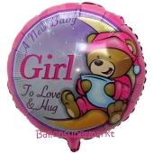 A New Baby Girl Teddybär Luftballon aus Folie mit Helium