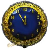 Silvester Luftballon, Silvester-Partydekoration, Folienballon mit Ballongas, New Years Clock, schwarz
