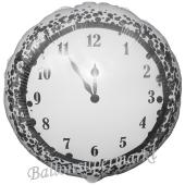 Silvester Luftballon, Silvester-Partydekoration, Folienballon mit Ballongas, New Years Clock, weiß