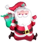 Weihnachtsmann mit Rucksack, Folienballon zu Weihnachte und Nikolaus, inklusive Helium