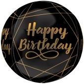 Happy Birthday Elegant Orbz, Luftballon aus Folie ohne Ballongas
