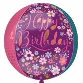 Happy Birthday Blumen Orbz Luftballon aus Folie, inklusive Helium