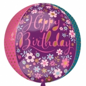 Happy Birthday Blumen Orbz, Luftballon aus Folie ohne Ballongas