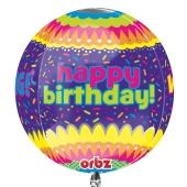 Happy Birthday Konfetti Orbz Luftballon aus Folie ohne Ballongas