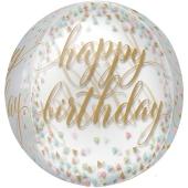 Happy Birthday Pastell Konfetti Orbz Luftballon aus Folie, inklusive Helium