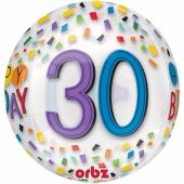 Happy Birthday Rainbow 30, Orbz Luftballon aus Folie, inklusive Helium